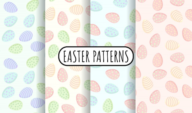 Set of easter eggs in pastel colors seamless patterns.