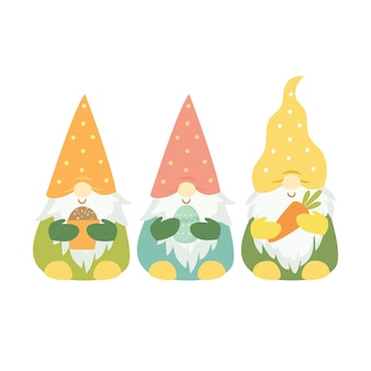 Set of easter gnomes