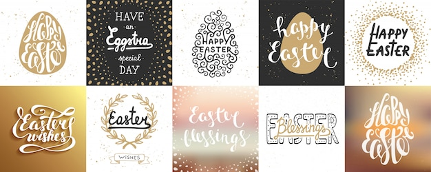 Set of   easter lettering posters and cards