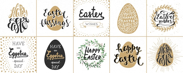 Set of easter lettering posters, greeting cards
