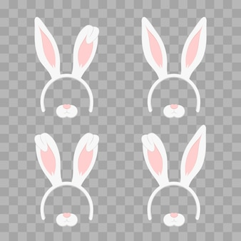 Set of easter mask with rabbit ears isolated on transparent checkered, illustration. cartoon cute headband with ears holiday set. flat design style.