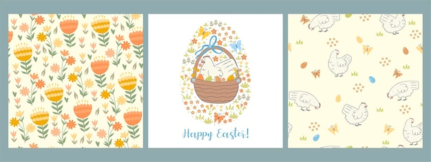 Set of easter seamless pattern and greeting card with chickens, eggs and flowers.