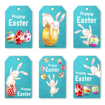 Set of easter tags with rabbits and eggs. greeting cards. happy easter.