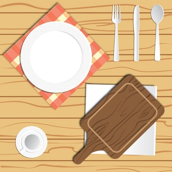 A set of eating board food knife spoon fork vector