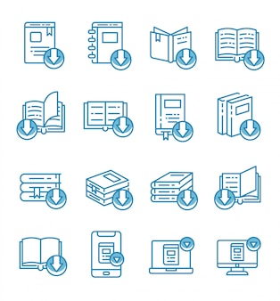 Set of ebook, electronic book icons with outline style.