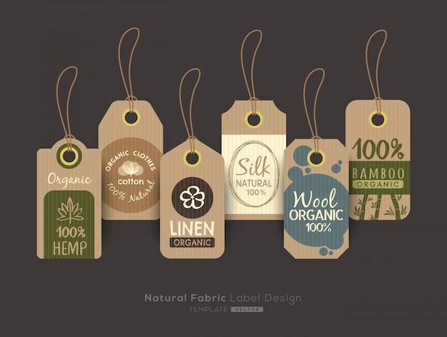 Set of eco friendly fabric cloth tag labels collection Premium Vector