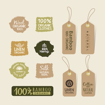 Set of eco friendly fabric tag labels collection design Premium Vector