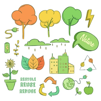 Set of eco or go green icons with doodle style
