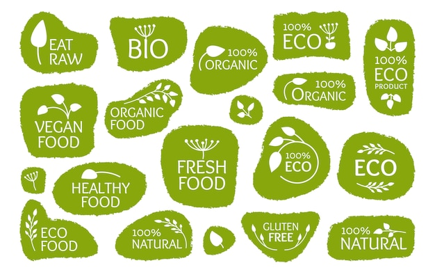 Set of eco green labels with leaves.
