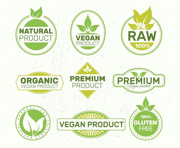 Set of eco labels , organic, fresh, healthy