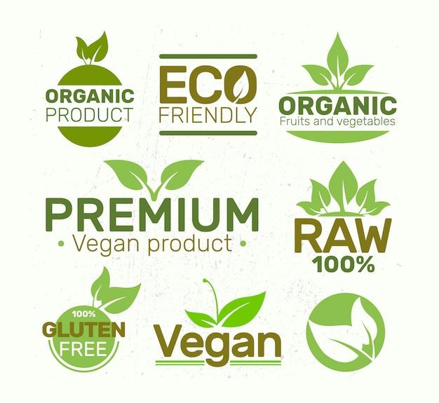 Set of eco labels , organic, fresh, healthy.