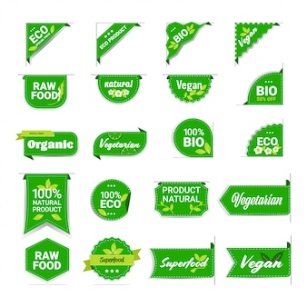 Set eco natural product stickers organic healthy vegan market logo fresh food emblems collection badges design