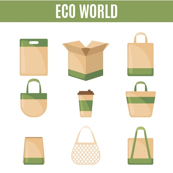 Set of eco packaging icons in flat style.