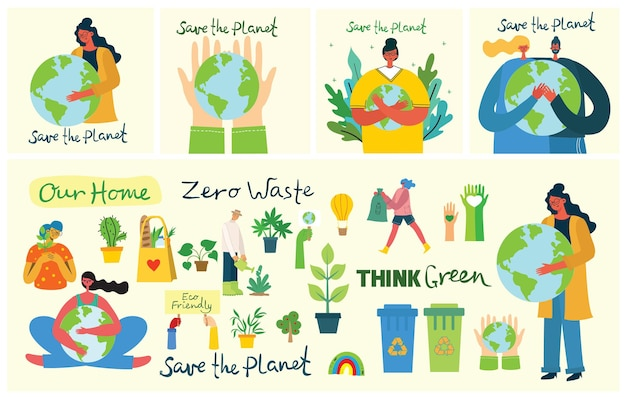 Set of eco save environment illustrations. people taking care of planet collage.