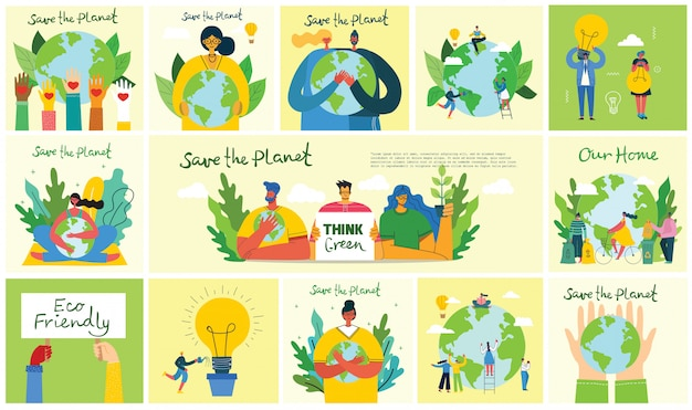 Set of eco save environment pictures. people taking care of planet collage. zero waste, think green, save the planet, our home hand written text in flat design