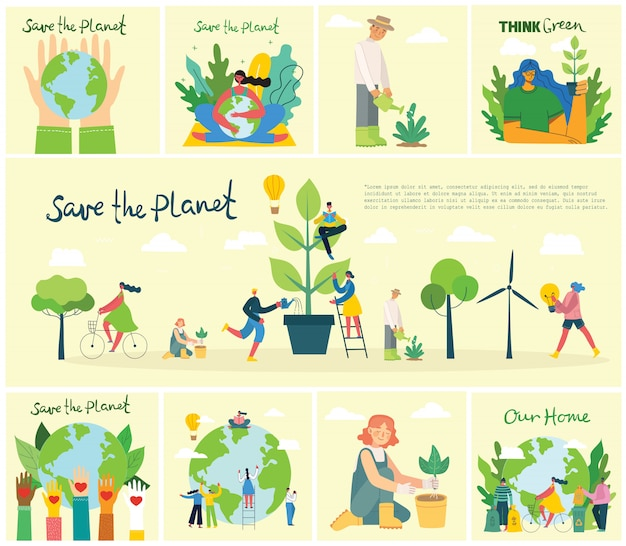 Set of eco save environment pictures. people taking care of planet collage