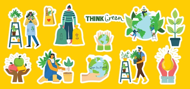Set of eco save environment stickers pictures. people taking care of planet collage. zero waste, think green, save the planet, our home hand written text in the modern flat design