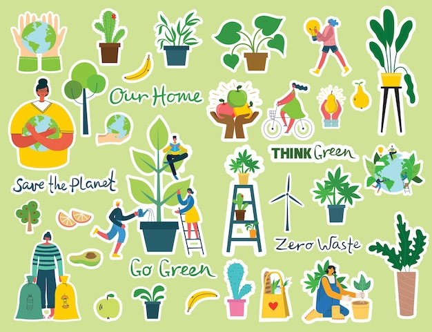 Set of eco save environment stickers pictures.
