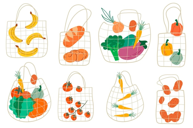 Set of eco shopping net bags with various products. fruits and vegetables. cartoon style. flat design