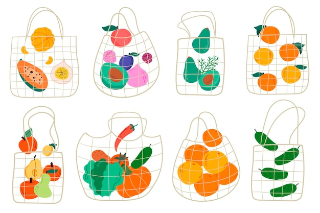 Set of eco shopping net bags with various products. fruits and vegetables. cartoon style