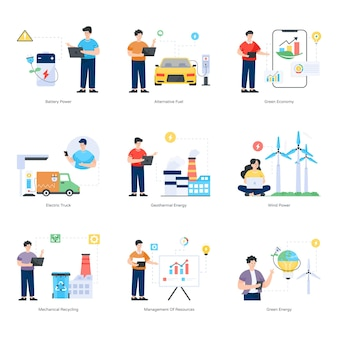 Set of eco technology flat illustrations