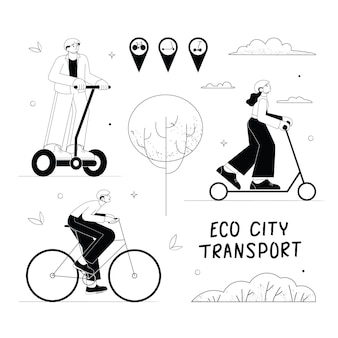 Set of eco urban transport illustration man and woman riding electric kick scooter bicycle segway