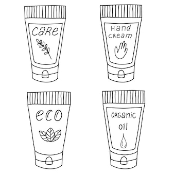 A set of ecocosmeticshanddrawn illustration