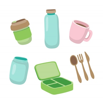 Set of ecological items - reusable coffee cup, glass jar, wooden cutlery, lunch box.