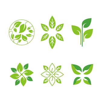 Set of ecology green logo design for yoga natural and organic food