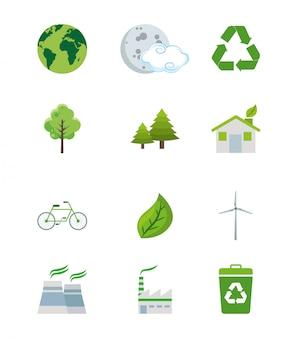 Set of ecology green world elements