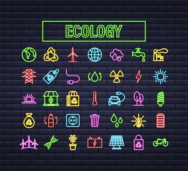 생태, 자연을 설정합니다. 태양광 발전. 행성을 저장합니다. 벡터 재고 일러스트 레이 션.