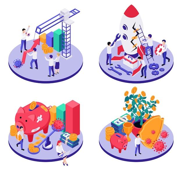 Set of economic business and virus illustration