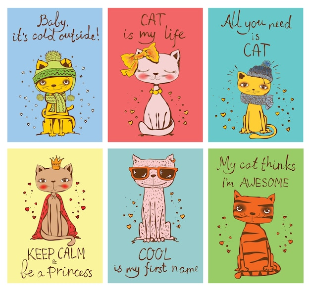 Set of ector cards with cute cats and hand drawn funny cat texts.