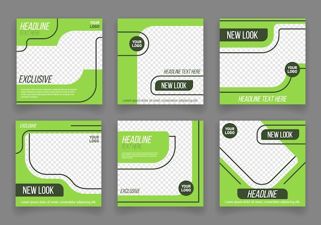 Set of editable minimal banner template suitable for social media post and web internet ads vector