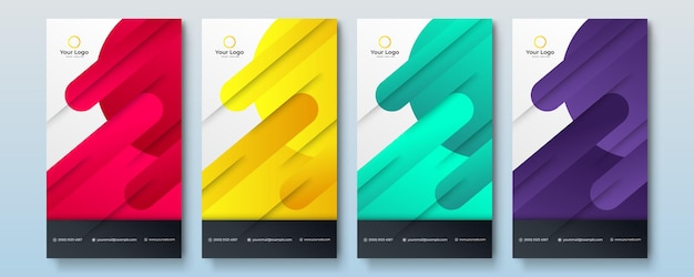 Set of editable minimal social media story banner template. multi color background with geometric shapes. suitable for social media post and web internet ads. vector illustration with photo college