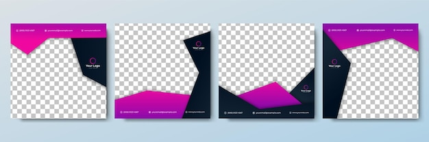 Set of editable minimal square banner template. black and purple background color with stripe line shape. suitable for social media post and web internet ads. vector illustration with photo college
