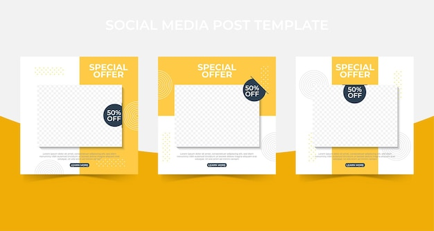 Set of editable minimal square banner template. social media post and web internet ads with photo collage.