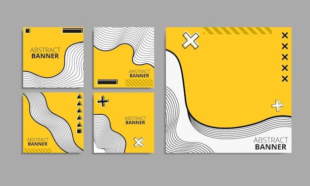Set of editable minimal square banner template