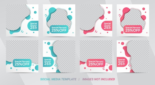 Set of editable square banner template design for cake food post. suitable for social media post restaurant and culinary digital promotion. mint and pink background color shape vector. Premium Vector