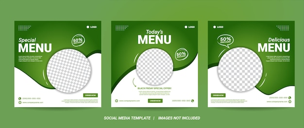 Set of editable square banner template design for healthy food post. suitable for social media post restaurant and culinary digital promotion. white and green background color shape vector.