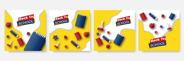 Set of editable templates for social media post, square frame, social media, back to school, courses, advertisement, and business promotion, fresh design