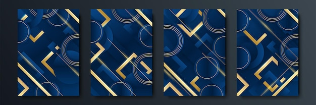 Set of editable templates for social media story, post template, corporate, advertisement, and business, fresh design with simple blue gold color