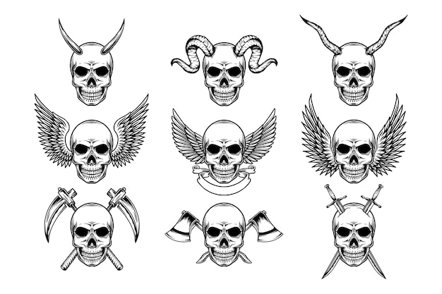 Set of editable vintage skulls with horns, wings, and weapons, illustration in black and white