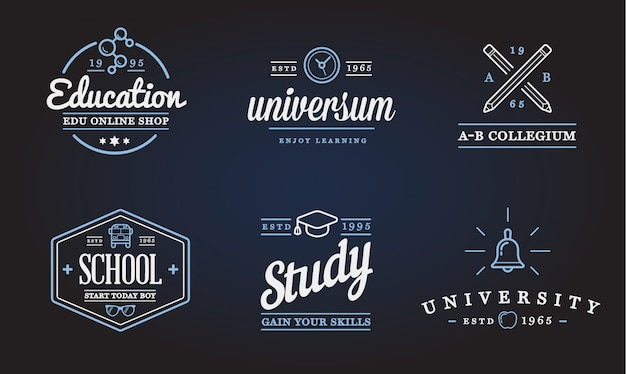 Set of education icons illustration can be used as logo or icon in premium quality