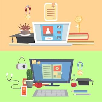 가정에서 교육, 온라인 교육, 온라인 학습, 작업 환경 설정