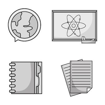 Set education school utensils icons