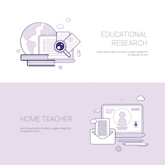 Set of educational research and home teacher banners business concept template