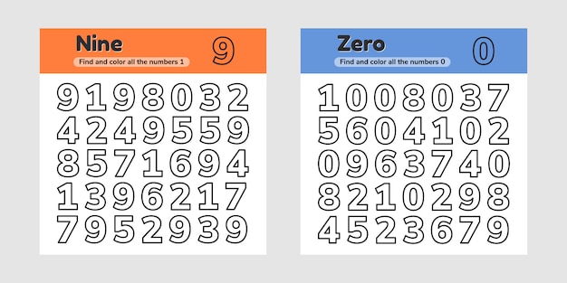 Установить учебные листы для детей детского сада, дошкольного и школьного возраста. числа. найдите и раскрасьте.
