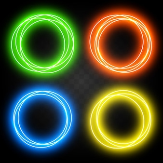 Set of effect neon circles for design. abstract shiny light circles