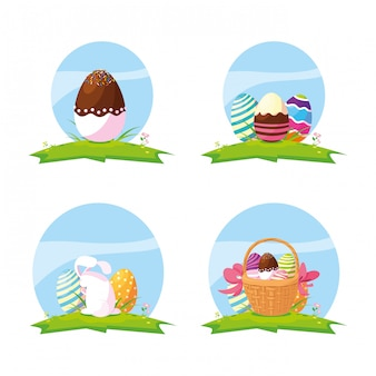 Set of eggs and cute rabbit easter